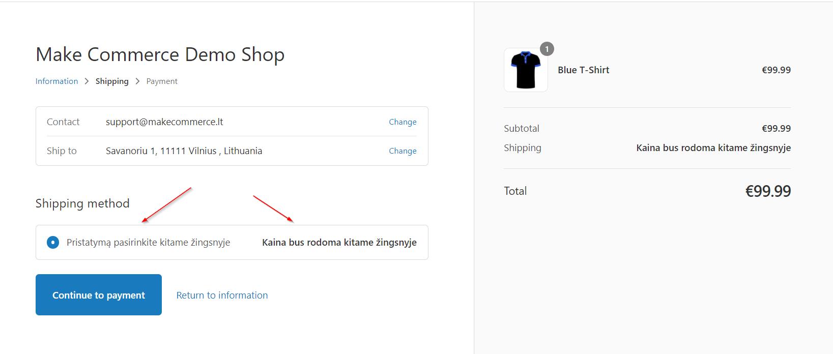 MakeCommerce shopify 1 žingsnis